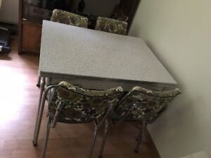 """Chrome table and 4 chairs - 1950's """"Deco"""" style"""