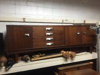 Vintage retro long mid century sideboard credenza tv cabinet 60s 70s Danish G Plan