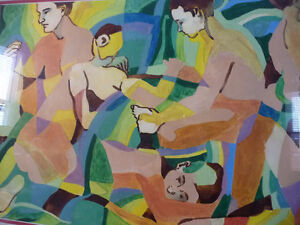 "Modern Abstract Figures, Listed Artist Joyce Kellock ""Six Girls"" Stratford Kitchener Area image 3"