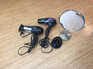 hair dryers and make-up mirror