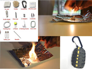 Paracord 550 Carabiner Grenade Survival Kit fire starter flint