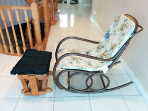 Vintage Wicker Rocking Chair w/ footrest