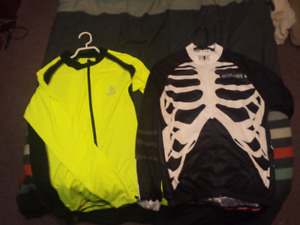 2 Spandex Biking Shirts with pockets on lower back