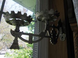 TWO VICTORIAN CAST IRON TWIN OIL LAMP FLOWER POT SWING BRACKETS