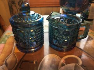 Vintage Original Carnival Glass Cream and Sugar Set with Lid