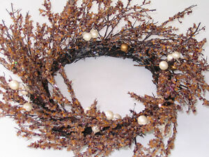 Shabby Chic Amber Faux Crystal Glass Beads Branch Wreath Peterborough Peterborough Area image 1