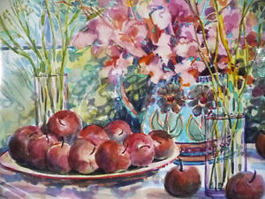 "Morning Harvest, ""Apples on a Large Plate"" by Nell LaMarsh, 1994 Stratford Kitchener Area image 3"