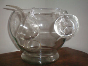 2 LARGE GLASS PUNCH BOWLS, LADLES AND CUPS