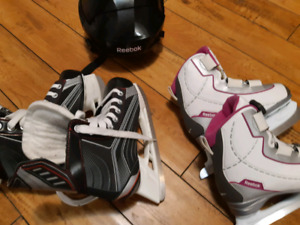 Girls skating shoes,size 2 and,helmet