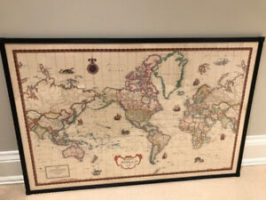 Framed World Map Antique Style