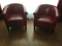 2 - fauteuils simili cuir rouge - Faux leather red armchair