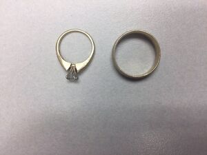Engagement Ring and Men's Wedding Band