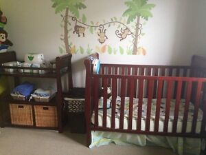 Crib with Changing table( mattress & waterproof cover included)