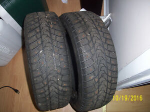 (2) Winter Studded tires 185/65R14 Great SHAPE!