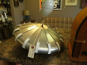 RETRO MCM STEEL FLYING SAUCER  LIGHT