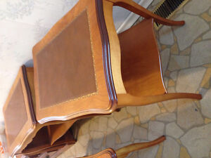 Cherry wood coffee table and 2 side tables with leather inlay Stratford Kitchener Area image 3
