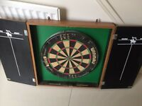 Winmau dart board and cabinet