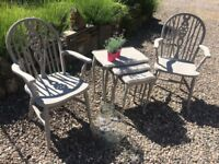 Two Ercol carvers painted in Annie Sloan French Linen