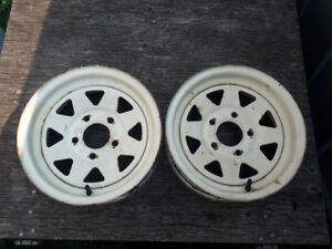 A pair of steel 13 inch trailer rims