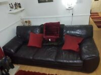 Leather 3 seater sofa and chair in great condition