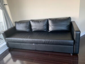 USED - sofa bed - BLACK feel as leather