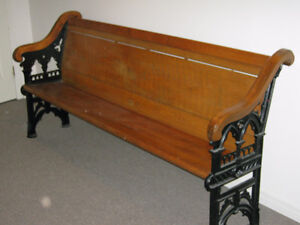Church pew with cast iron ends