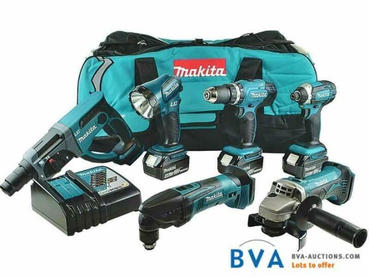 6b9a1ac47d6 Online Veiling: Makita 18v 6-delige machineset DLX6075M|3893 ...