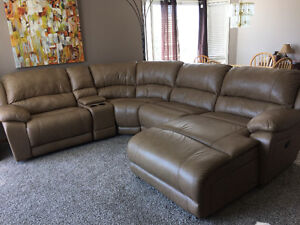 Marco Genuine Leather 5-Piece Sectional by Cindy Crawford