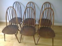 Ercol Windsor Quaker vintage chairs x6