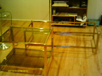 Brass/Glass Coffee Tables and Floor Lamps