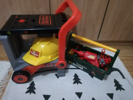 Toy Work bench/trolley, tool box and tools