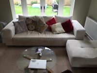 3 seater sofa with pooffé and chair