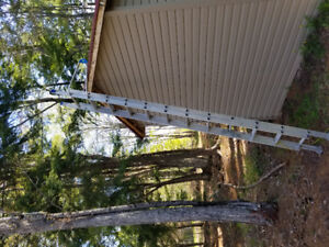 extention  ladder and 5 ft fiberglass ladder