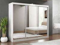 Best Furniture-LUX 3 SLIDING DOORS WARDROBE IN 250CM SIZE & IN MULTI COLORS-ORDER NOW