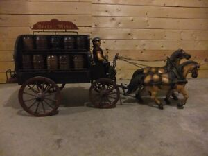 Vintage  Wooden Dray and Horses