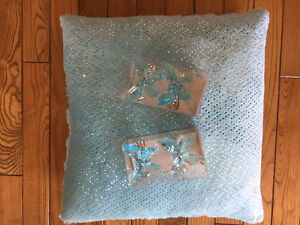 Sparkly Teal Pillow and Curtain Tie-backs