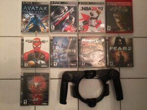 PS3: Spiderman, NBA2K18, Move Racing Wheel/Volant...