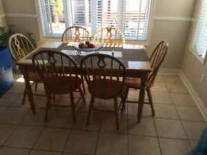 WOOD + TILE  kitchen table with 6 chairs for sale