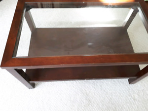 Coffee table with glass top for sale -  37 x 21 x 18.5