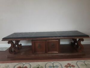 vintage marble top coffee table and two octagon end tables