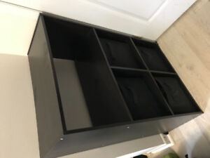 BLACK WOODEN STORAGE/SHELVING UNIT - COMES WITH 4 BINS