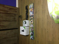 XBOX 360, KINECT, 1 CONTROLLER TURTLE BEACH HEADSET AND 8 GAMES