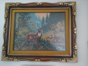 Framed hand stitched fine needlework picture