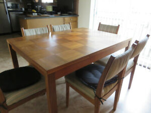 Teak Dining Set - Table, 6 Chairs, Hutch