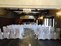 Chair covers sashes centrepieces Royal Mail post box starlight backdrop candy Carts love letters