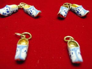 Set of silver dutch charms, suitable for earings, blue shoe