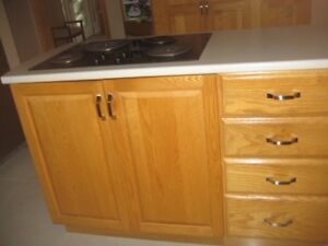 Oak Island with Built-In Cooktop