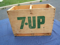 RARE - 3/74 - 7- UP - 2-1 Gal. Glass Syrup Jug WOOD CRATE