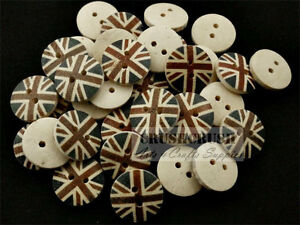 FREE-SHIPPING-20pcs-Wood-Buttons-Union-Jack-British-England-UK-Sewing-Craft-B59
