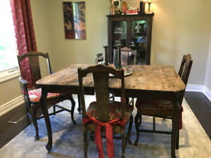 Antique Dining Room Table, Chairs, Buffet and China Cabinet